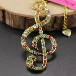 NWT Betsey Johnson treble clef necklace